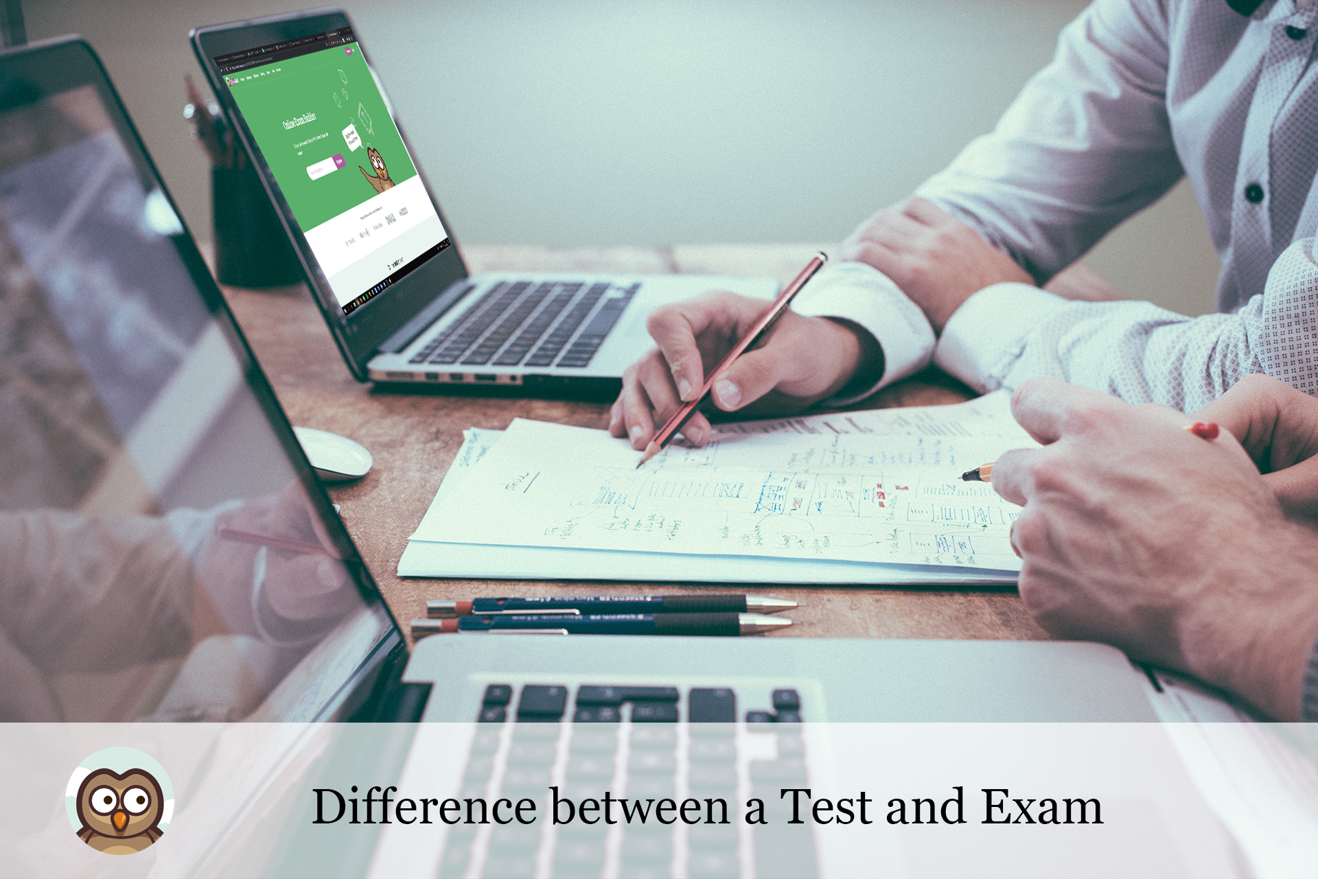 Difference between a test and exam