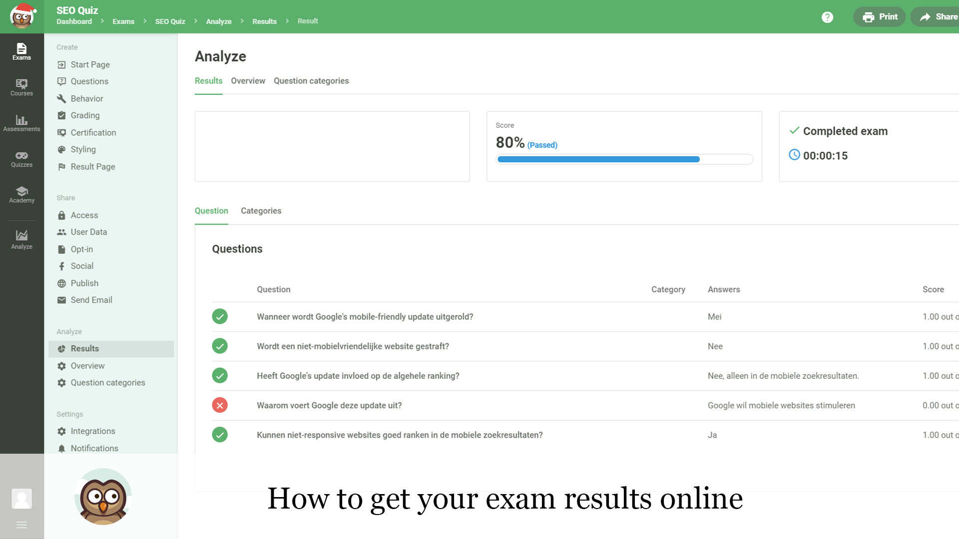 How to get your exam results online