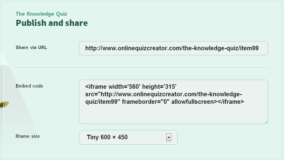 publish and share your quiz