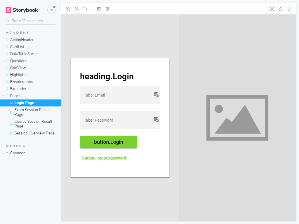 Login page component